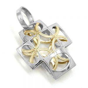 Pendentif croix en or blanc 9k 430849xx
