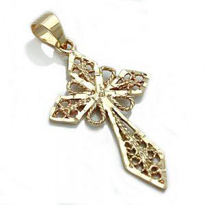 Pendentif croix filigrane 9k or 430830xx
