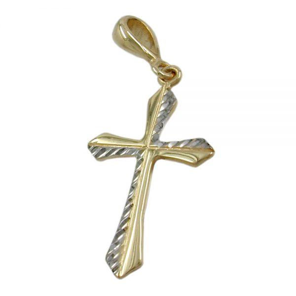 Pendentif croix rhodie or 9 carats 430761xx