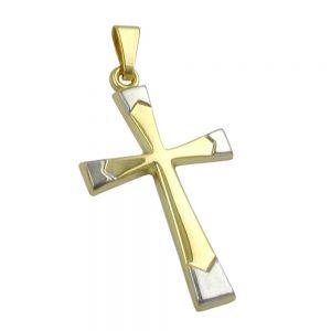 Pendentif croix rhodie or 9 carats 430913xx