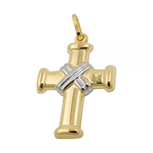 Pendentif croix rhodie or 9 carats 431481xx