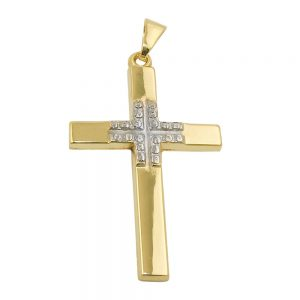 Pendentif croix rhodie or 9 carats 431485xx