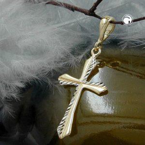 Pendentif croix rhodie or 9 carats Krossin bijoux or 430761x