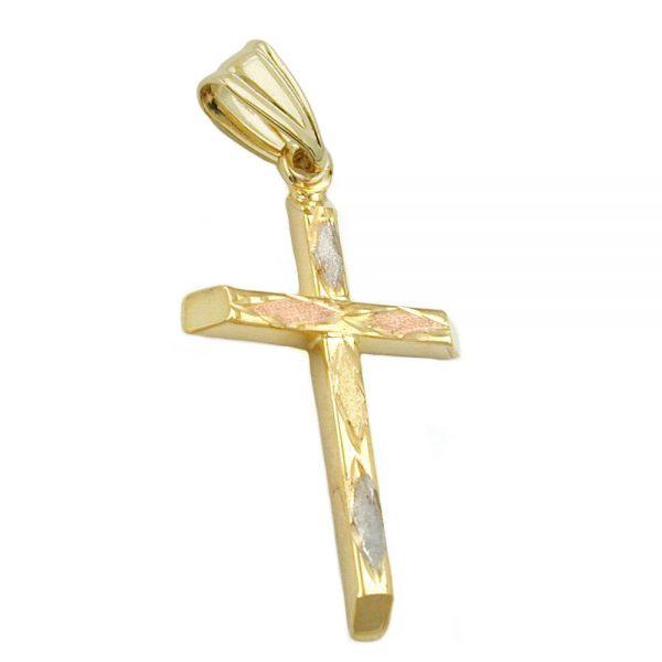 Pendentif croix tricolore en or 9 carats 431184xx