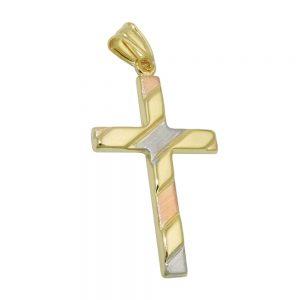 Pendentif croix tricolore en or 9 carats 431406xx