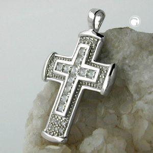 Pendentif croix zircons argent 925 Krossin bijoux en argent 94001x