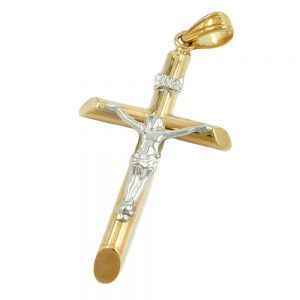 Pendentif crucifix deux tons 9k or 430751xx
