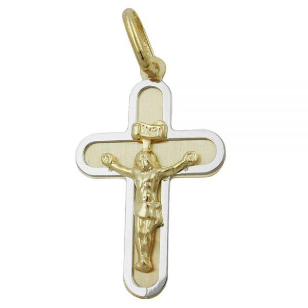 Pendentif crucifix deux tons 9k or 431333xx