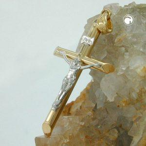 Pendentif crucifix deux tons 9k or Krossin bijoux or 430751x