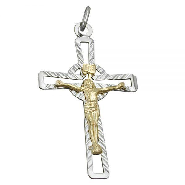 Pendentif crucifix deux tons argent 925 Krossin bijoux en argent 93420xx