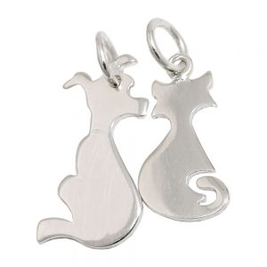 Pendentif damitie chat chien argent 925 Krossin bijoux en argent 93544xx