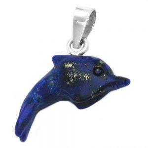 Pendentif dauphin lapis pierre argent 925 Krossin bijoux en argent 92051xx