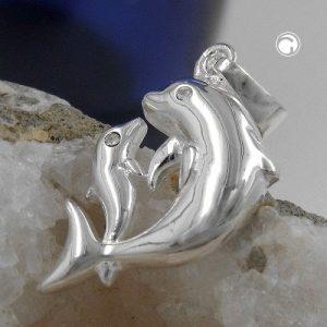 Pendentif dauphins argent 925 Krossin bijoux en argent 92650x