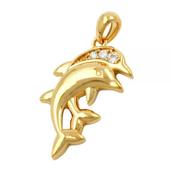 Pendentif dauphins avec zircon plaque or 3 microns 30258xx