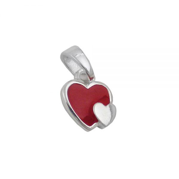 Pendentif deux coeurs rouge argent 925 Krossin bijoux en argent 93631xx