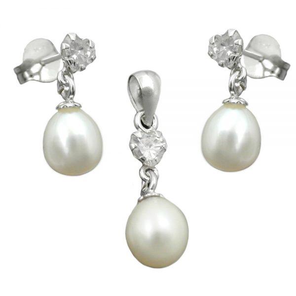 Pendentif et boucles oreilles perle argent 925 Krossin bijoux en argent 93395xx