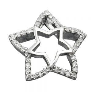 Pendentif etoile zircons argent 925 Krossin bijoux en argent 94007xx
