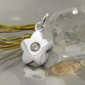 Pendentif fleur Zircon blanc argent 925 Krossin bijoux en argent 93635x