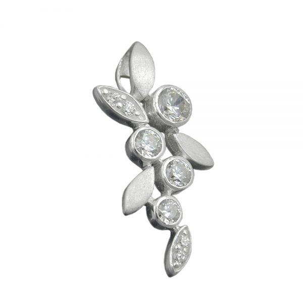 Pendentif fleur avec des feuilles dargent 925 Krossin bijoux en argent 93312xx