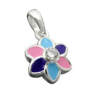 Pendentif fleur multicolore argent 925 Krossin bijoux en argent 91675xx