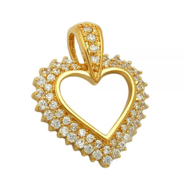 Pendentif grand coeur avec zircon plaque or 3 microns 30240xx