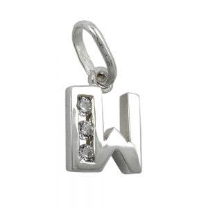 Pendentif initiale w avec argent 925 Krossin bijoux en argent 91444wxx