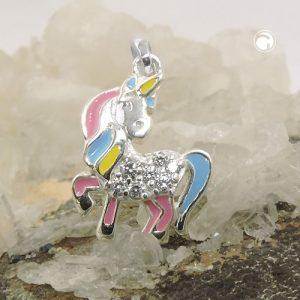Pendentif licorne multicolore argent 925 Krossin bijoux en argent 93817x