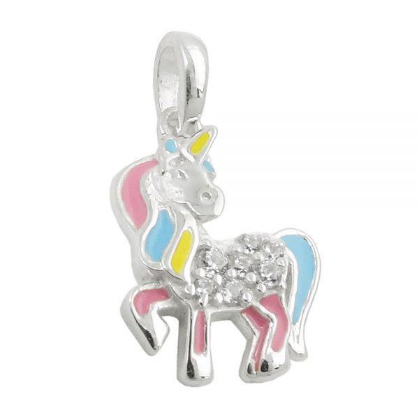 Pendentif licorne multicolore argent 925 Krossin bijoux en argent 93817xx