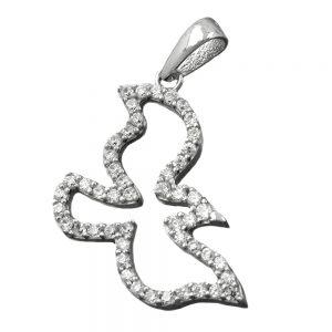 Pendentif oiseau avec des cristaux de Zircon argent 925 Krossin bijoux en argent 90162xx