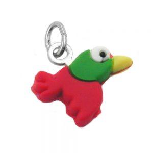 Pendentif oiseau en caoutchouc colore argent 925 Krossin bijoux en argent 91984xx