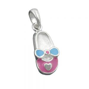 Pendentif pantoufle rose bleu argent 925 Krossin bijoux en argent 90763xx
