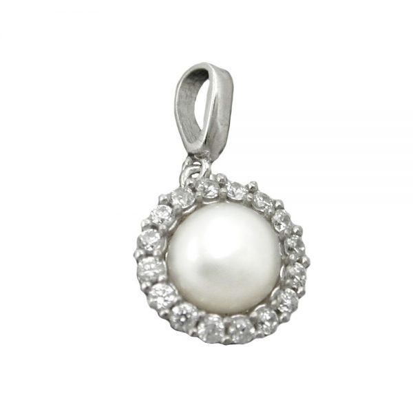 Pendentif perle avec Zircon argent 925 Krossin bijoux en argent 90543xx