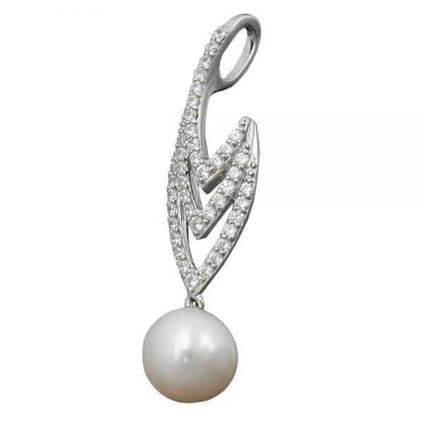 Pendentif perle et zircons argent 925 Krossin bijoux en argent 94006xx