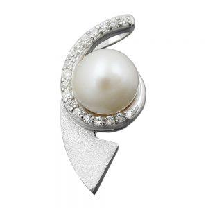 Pendentif perle et zircons argent 925 Krossin bijoux en argent 94022xx