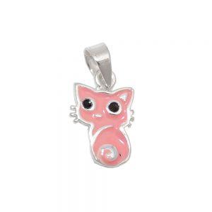 Pendentif petit chat rose argent 925 Krossin bijoux en argent 93542xx