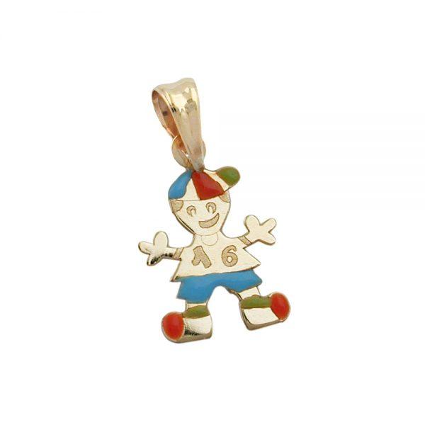 Pendentif petit garçon multicolore en or 9 carats 431017xx