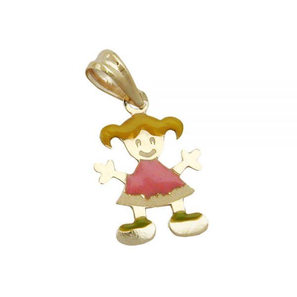 Pendentif petite fille multicolore en or 9 carats 431018xx