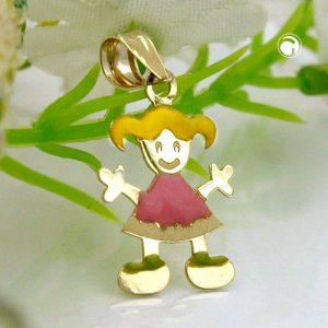 Pendentif petite fille multicolore en or 9 carats Krossin bijoux or 431018x