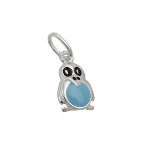 Pendentif pingouin bleu noir argent 925 Krossin bijoux en argent 93632xx