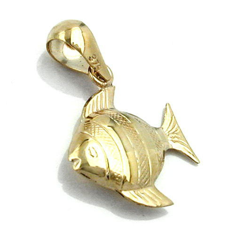 poisson brillant or 9k J/ésus signe pendentif
