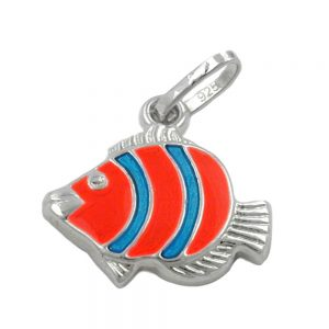 Pendentif poisson clown poisson orange argent 925 Krossin bijoux en argent 92213xx