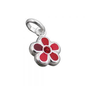 Pendentif pour enfants fleur rouge argent 925 Krossin bijoux en argent 91673xx