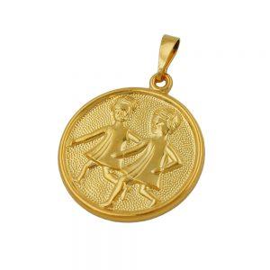 Pendentif signe du zodiaque Gemeaux plaque or 00071xx