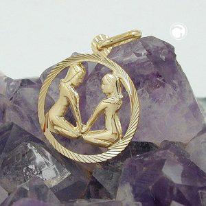 Pendentif signe du zodiaque gemeaux en or 9 carats Krossin bijoux or 430449x