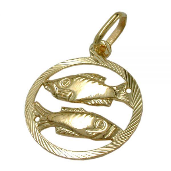 Pendentif signe du zodiaque poissons 9k or 430446xx