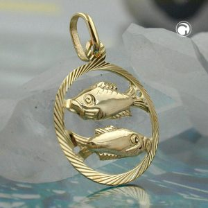 Pendentif signe du zodiaque poissons 9k or Krossin bijoux or 430446x