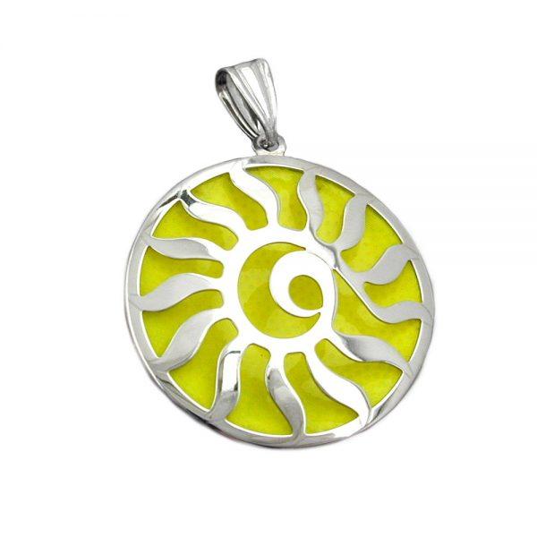 Pendentif soleil lumineux jaune argent 925 Krossin bijoux en argent 93375xx