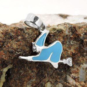 Pendentif sorciere bleu emaille argent 925 Krossin bijoux en argent 93573x