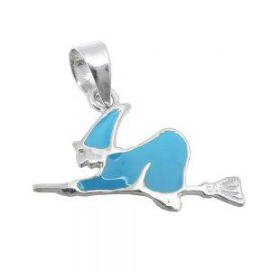 Pendentif sorciere bleu emaille argent 925 Krossin bijoux en argent 93573xx
