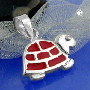 Pendentif tortue rouge argent 925 Krossin bijoux en argent 92242x